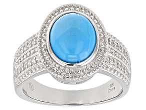 Pre-Owned Blue Sleeping Beauty Turquoise Rhodium Over Sterling Silver Ring 0.30ctw