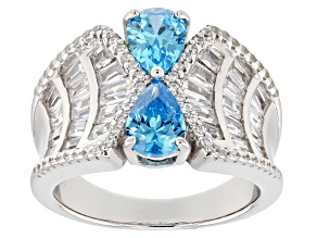 Pre-Owned Blue & White Cubic Zirconia Rhodium Over Sterling Silver Ring 5.44ctw
