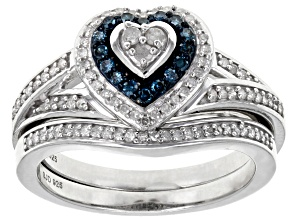 Pre-Owned Blue Velvet™ And White Diamond Rhodium Over Sterling Silver Ring 0.40ctw
