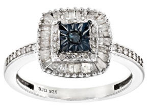 Pre-Owned Blue Velvet Diamond™ And White Diamond Rhodium Over Sterling Silver Ring 0.55ctw