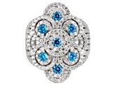 Pre-Owned Blue & White Cubic Zirconia Rhodium Over Sterling Silver Cluster Ring 4.34CTW