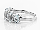 Pre-Owned Blue Brazilian Aquamarine Rhodium Over Sterling Silver 5-Stone Ring 3.30ctw