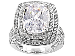 Pre-Owned White Cubic Zirconia Rhodium Over Sterling Silver Center Design Ring 12.24ctw