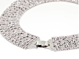 Pre-Owned Round White Crystal Silver Tone Statement Necklace