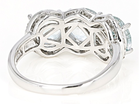 Pre-Owned Blue Brazilian Aquamarine Rhodium Over Sterling Silver 3-Stone Ring 3.79ctw