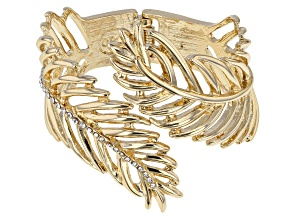 Pre-Owned White Crystal Gold Tone Feather Cuff Bracelet