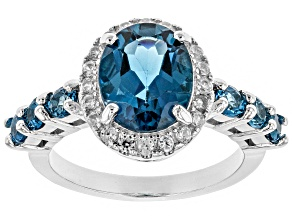 Pre-Owned London blue topaz rhodium over silver ring 3.68ctw
