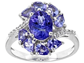 Pre-Owned Blue Tanzanite Rhodium Over Sterling Silver Ring 1.28ctw