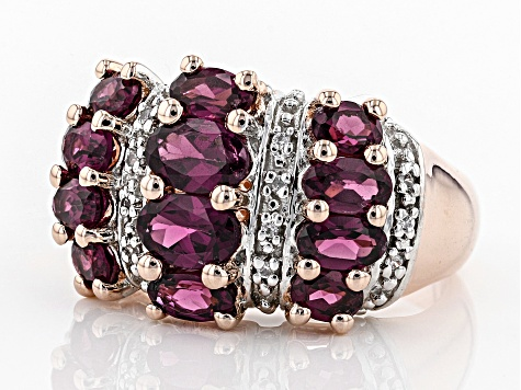 Pre-Owned Purple Rhodolite 18k Rose Gold Over Sterling Silver Ring 2.96ctw