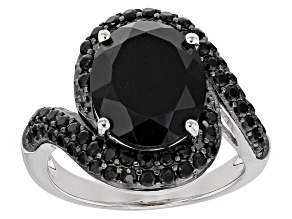 Pre-Owned Black spinel rhodium over sterling silver ring 6.23ctw