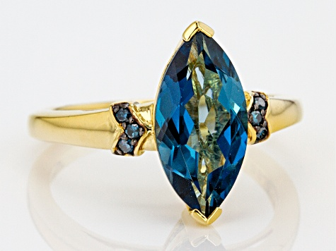 Pre-Owned London Blue Topaz 18k Gold Over Sterling Silver Ring 2.84ctw