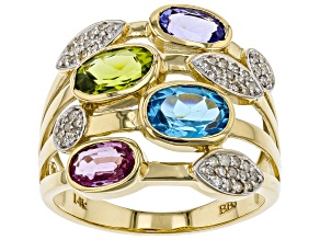 Pre-Owned White Diamond And Multi-Gemstone 14K Yellow Gold Ring 3.18ctw