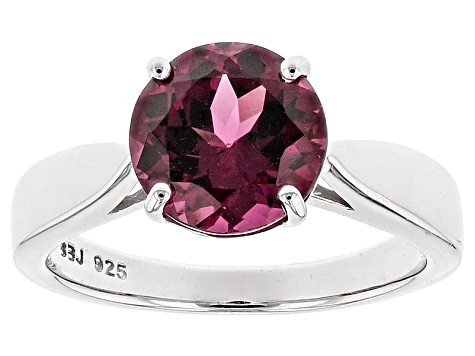 Pre-Owned Purple Rhodolite Sterling Silver Solitaire Ring 3.00ct