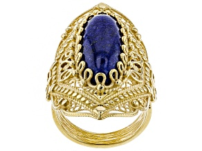 Pre-Owned Oval Cabochon Lapis 18K Yellow Gold Over Sterling Silver Ring