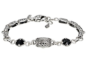 Pre-Owned Black Spinel Sterling Silver Bracelet 1.28ctw
