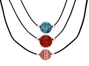Pre-Owned 12MM Round Turquoise, Indonesian Coral and Rhodochrosite Rhodium Over Silver Leather Neckl