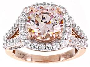 Pre-Owned Swarovski ® Morganite & White Cubic Zirconia 18K Rose Gold Over Sterling Silver Ring 10.00