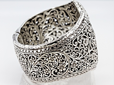 Pre-Owned Sterling Silver Floral Filigree Bracelet