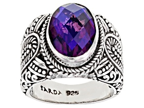 Pre-Owned Purple Quartz Triplet Silver Ring