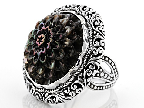 Pre-Owned Black Mother Of Pearl Sterling Silver Ring