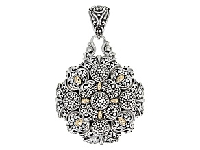 Pre-Owned Sterling Silver And 18kt Gold Accent Filigree Pendant