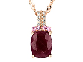 Pre-Owned Red ruby 18k gold over silver pendant with chain 3.94ctw