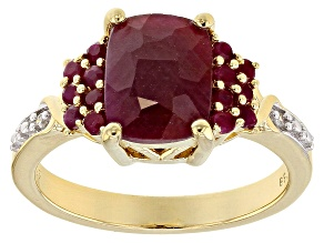 Pre-Owned Red ruby 18k yellow gold over silver ring 2.82ctw