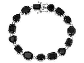 Pre-Owned Black Spinel Rhodium Over Silver Bracelet 34.07ctw