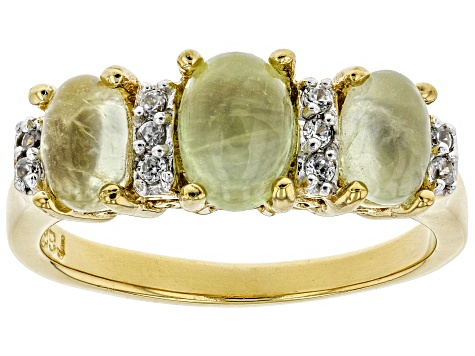 Pre-Owned Green Prehnite 18k Gold Over Silver Ring .07ctw