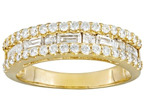 Pre-Owned WHITE CUBIC ZIRCONIA 18K YELLOW GOLD OVER STERLING SILVER BAND 1.46CTW