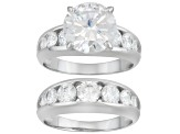 Pre-Owned Womens Ring Band Set White Cubic Zirconia 8.70ctw Round Sterling Silver