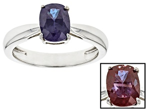 Pre-Owned Lab Created Color Change Alexandrite Sterling Silver Ring 1.42ct