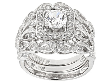 Picture of Pre-Owned White Cubic Zirconia Rhodium Over Sterling Silver Center Design Ring With Bands 2.10ctw
