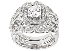 Pre-Owned White Cubic Zirconia Rhodium Over Sterling Silver Center Design Ring With Bands 2.10ctw