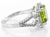 Pre-Owned Green Peridot And White Zircon Sterling Silver Ring 3.47ctw