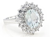 Pre-Owned Blue Brazilian Aquamarine Rhodium Over Sterling Silver Ring 4.50ctw