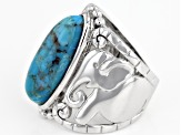 Pre-Owned Blue turquoise rhodium over sterling silver solitaire ring
