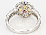 Pre-Owned Multi Color Sapphire Rhodium Over Sterling Silver Ring 1.68ctw