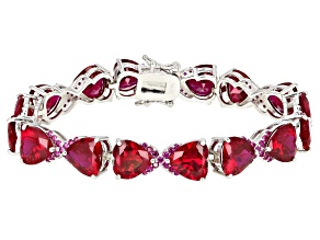 Pre-Owned Red lab created ruby rhodium over silver bracelet 42.75ctw