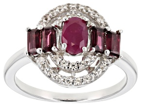 Pre-Owned Red ruby rhodium over silver ring 1.26ctw