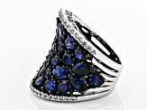 Pre-Owned Lab created blue sapphire rhodium over sterling silver ring 9.02ctw