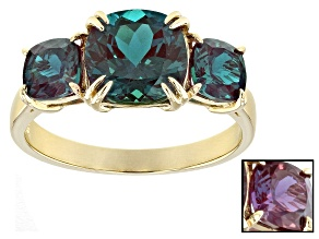 Pre-Owned Color Change Lab Created Alexandrite 10k Yellow Gold Ring 3.74ctw