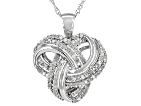 Pre-Owned White Diamond Rhodium Over Sterling Silver Pendant .75ctw