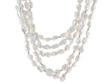Pre-Owned White Cultured Freshwater Pearl Silver Multi-Strand Necklace 18 inch