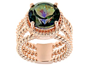 Pre-Owned Copper Morning Mist™ Quartz Twisted Cord Ring 4.98ct