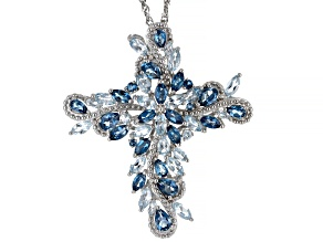 Pre-Owned Blue topaz rhodium over silver cross pendant with chain 11.07ctw