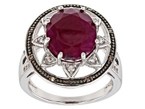 Pre-Owned Red Indian Ruby Rhodium Over Sterling Silver Ring 5.49ctw