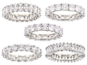 Pre-Owned White Cubic Zirconia Rhodium Over Sterling Silver Rings Set Of 5 35.00ctw