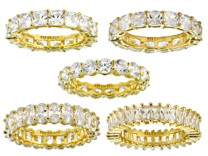 Pre-Owned White Cubic Zirconia 18K Yellow Gold Over Sterling Silver Rings Set Of 5 35.00ctw