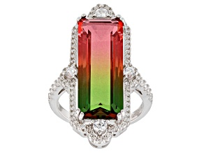 Pre-Owned Watermelon Tourmaline & White Cubic Zirconia Rhodium Over Sterling Silver Center Design Ri